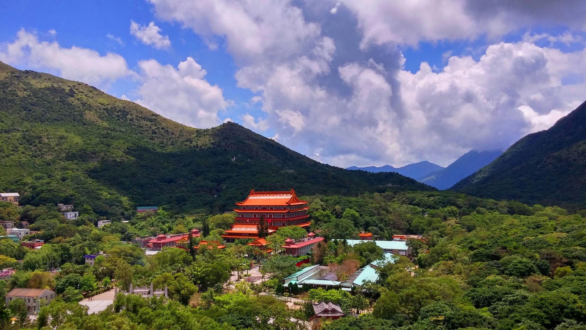 Po Lin Monastery Great Hall of Heroes and Ten Thousand Buddhas Hall from Big Buddha