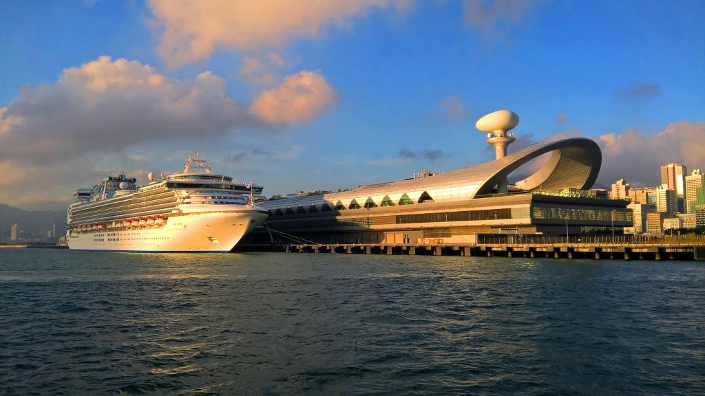 Sapphire Princess cruise berthing at Kai Tak Cruise Terminal