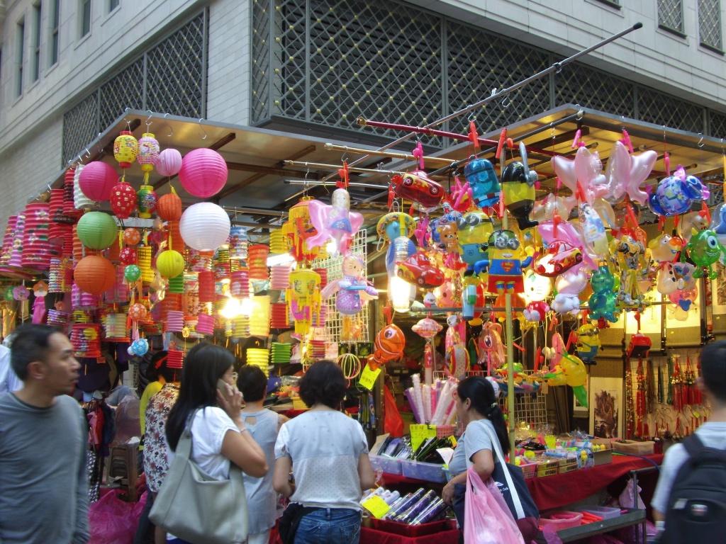 market lanterns people