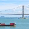 Tsing Ma Bridge and ship