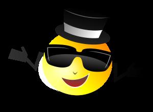 emoji, black hat, sunglasses, happy smile