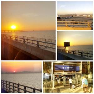 sunset, airport, bridge, sea water