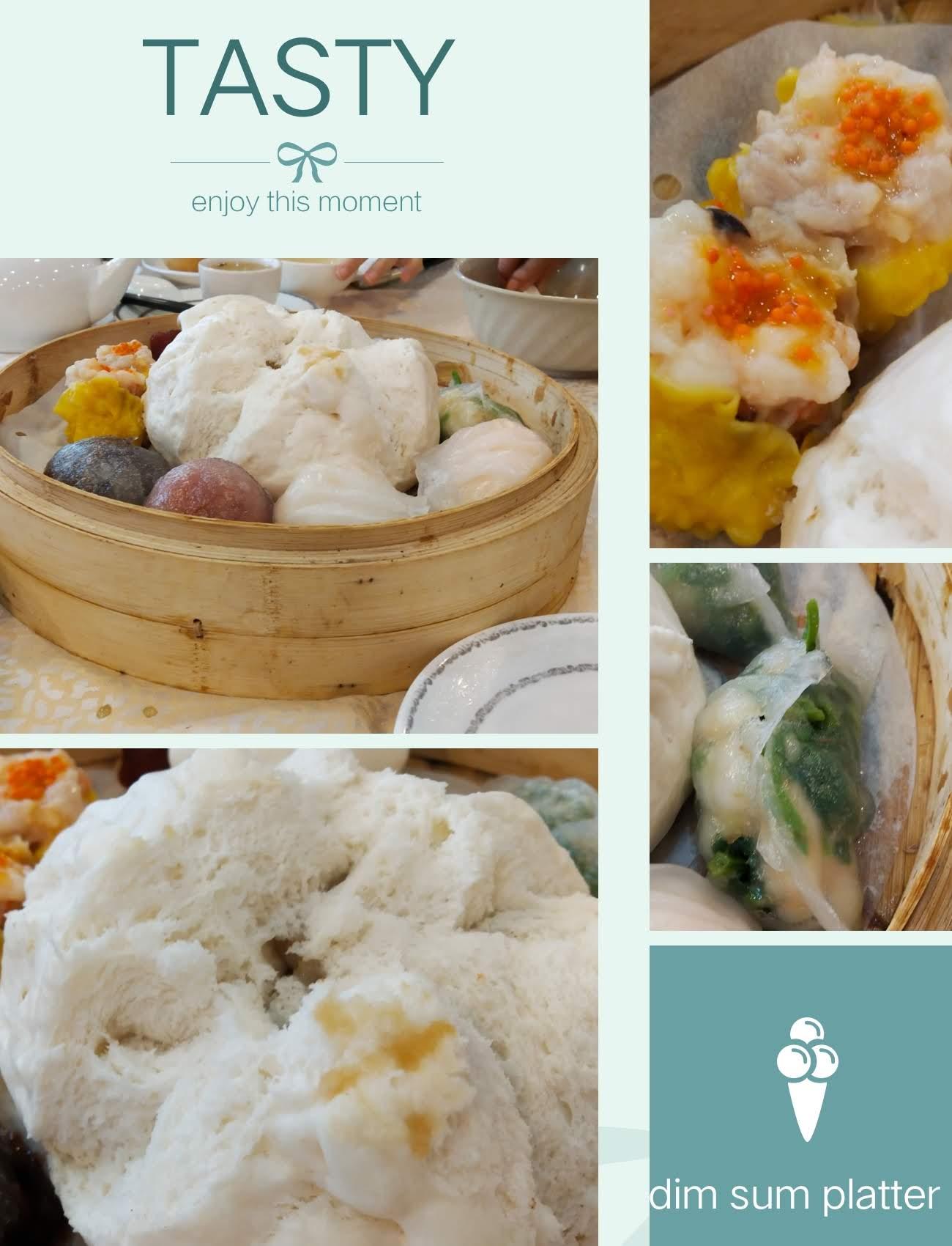 dim sum platter big bun, crystal cake, dumplings