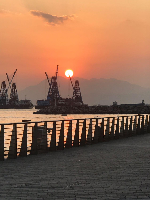 sunset, barge, waterfront promenade