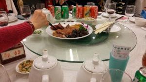 banquet start, tea pot, cokes, Chinese barbecue assortments
