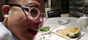 Frank with glasses, selfie, dinner