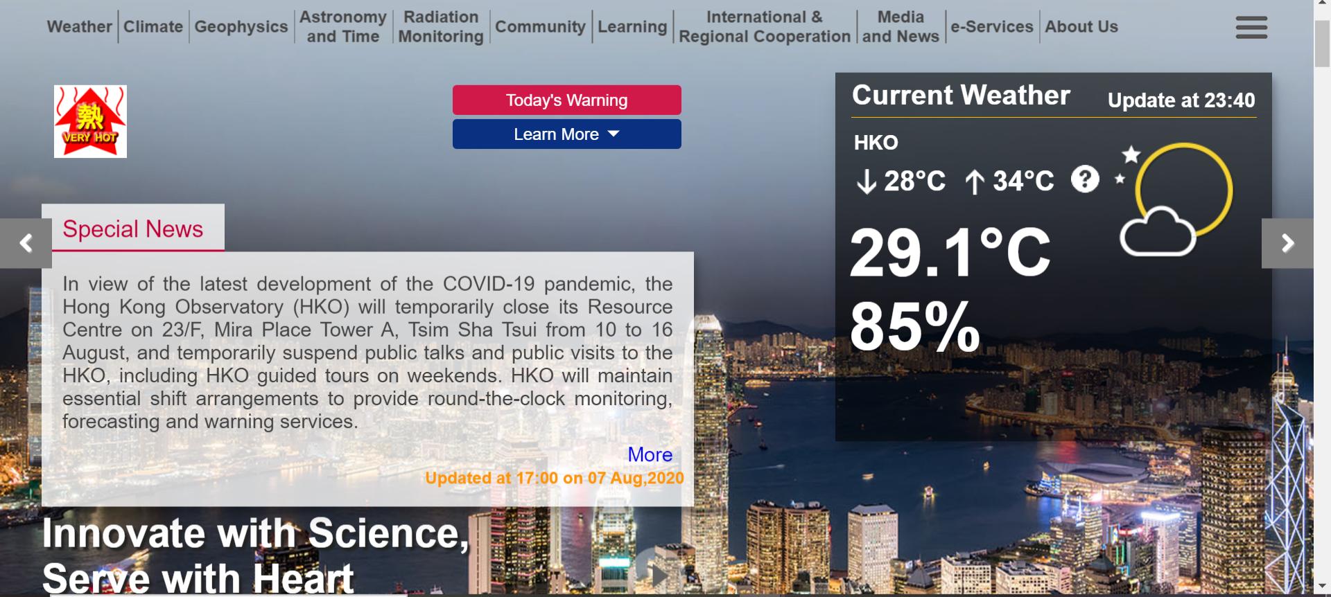 Print screen photo of Hong Kong Observatory