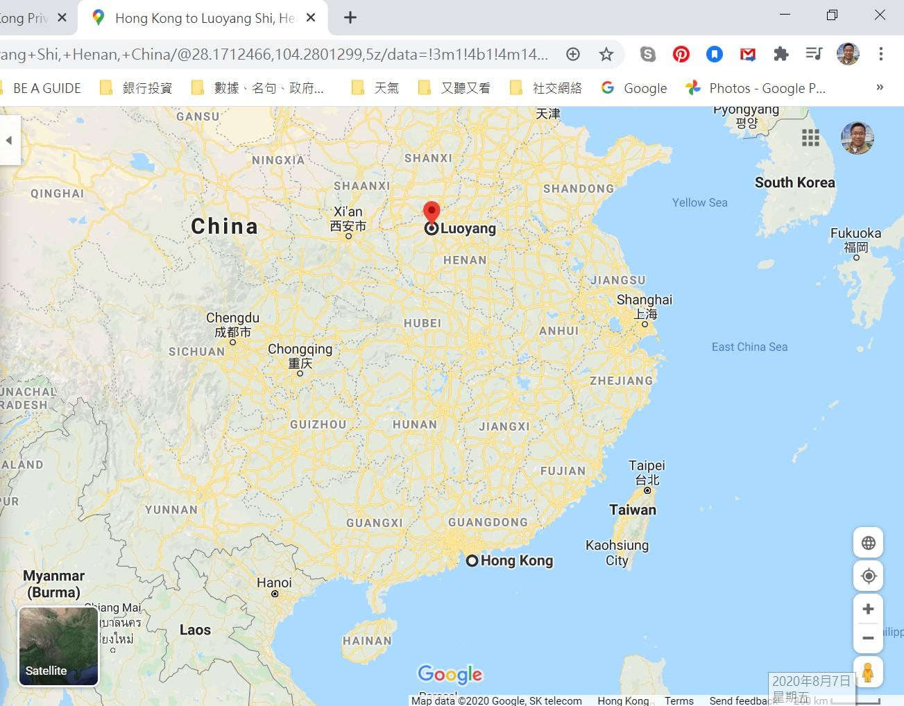 Google map, Hong Kong, Luoyang