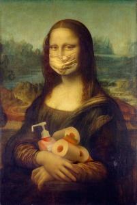 Mona Lisa with mask, toilet paper towel, shampoo