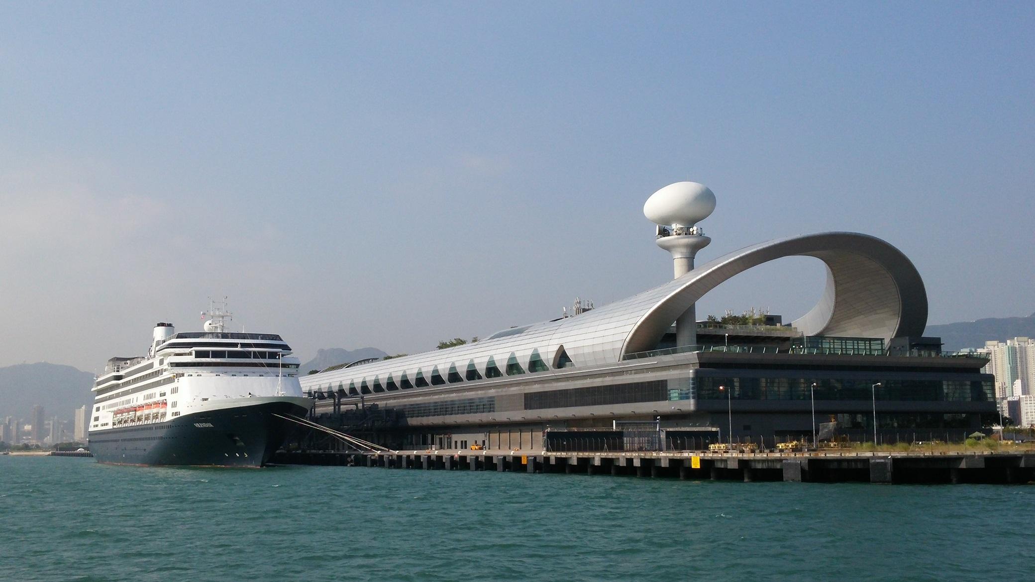 Volendam berthing at Kai Tak Cruise Terminal