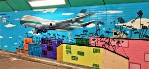 Art shows aeroplane's scaring but interesting landing on Kai Tak Airport runway