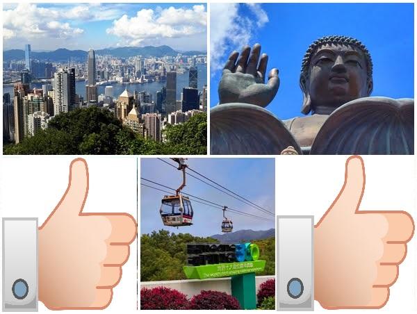 Victoria Peak, Big Buddha, thumb up, Ngong Ping Cable Car, Thumb up