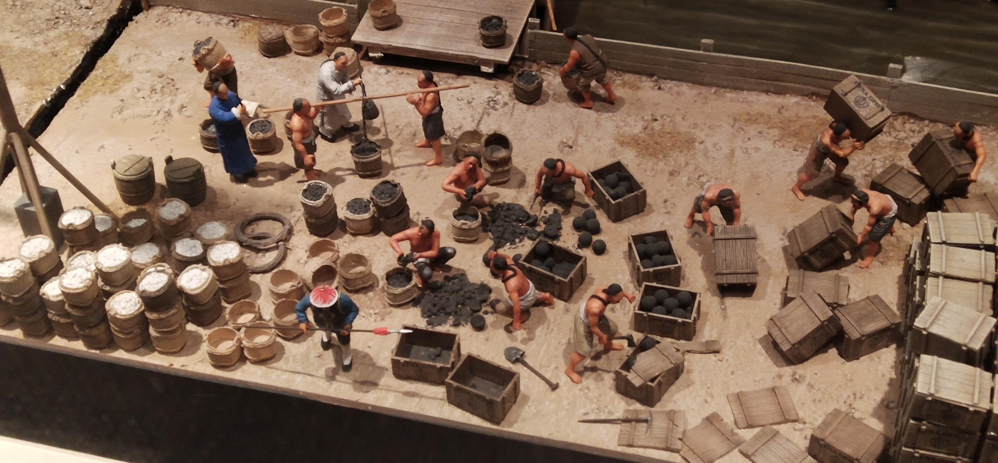 Destruction of opium at Humen scene model at Hong Kong Story exhibition