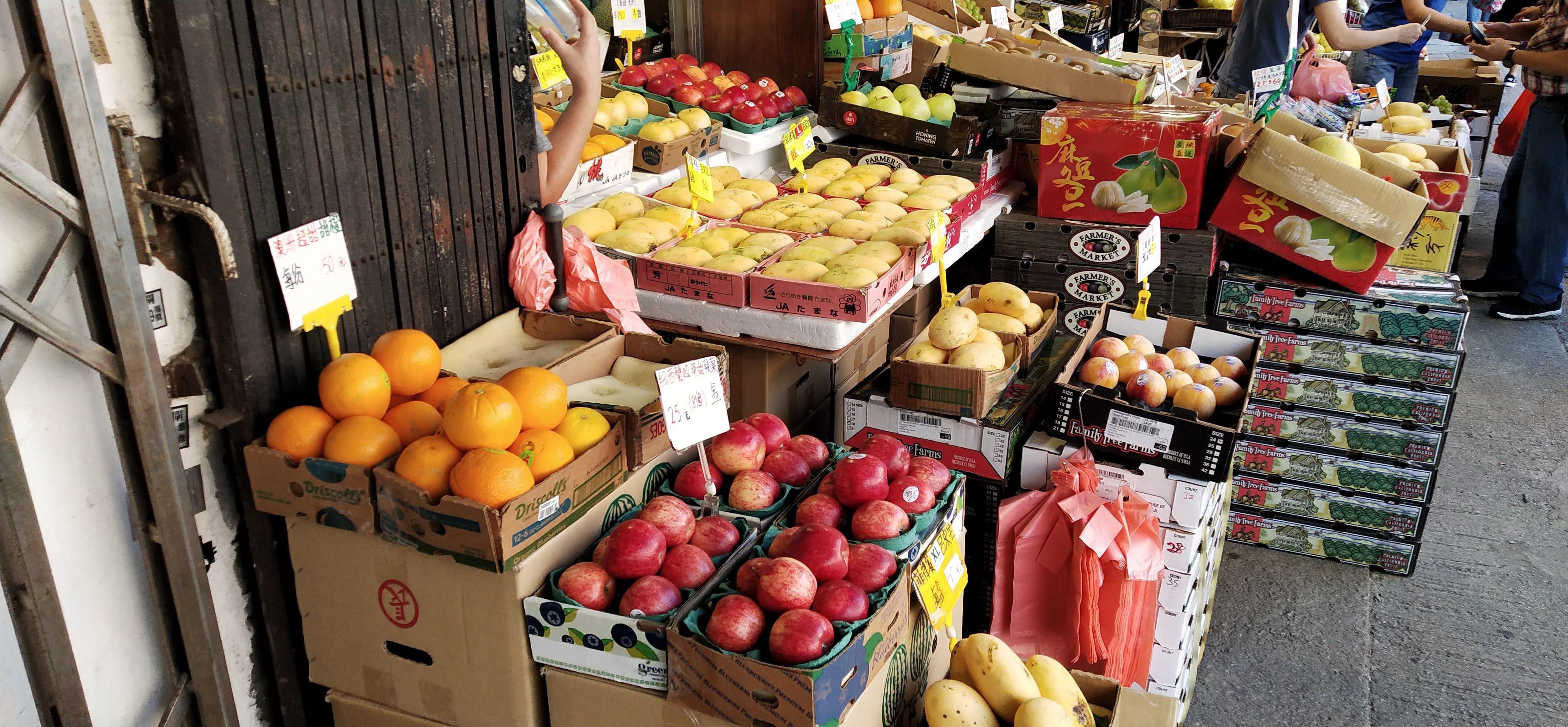 Fruits for retail at Yau Ma Tei Wholesale Fruit Market