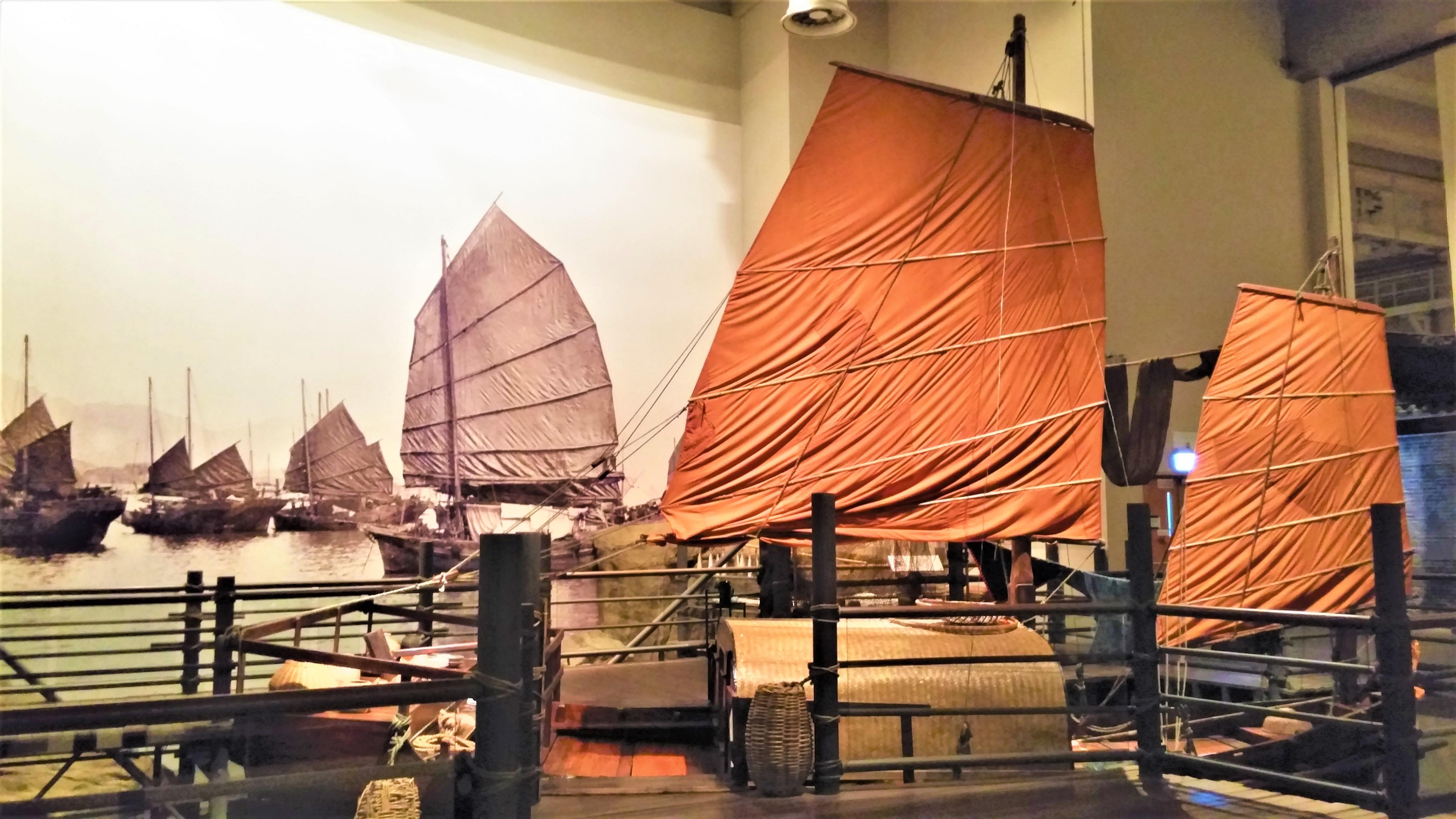 Junk boat scenery at Hong Kong Story exhibition