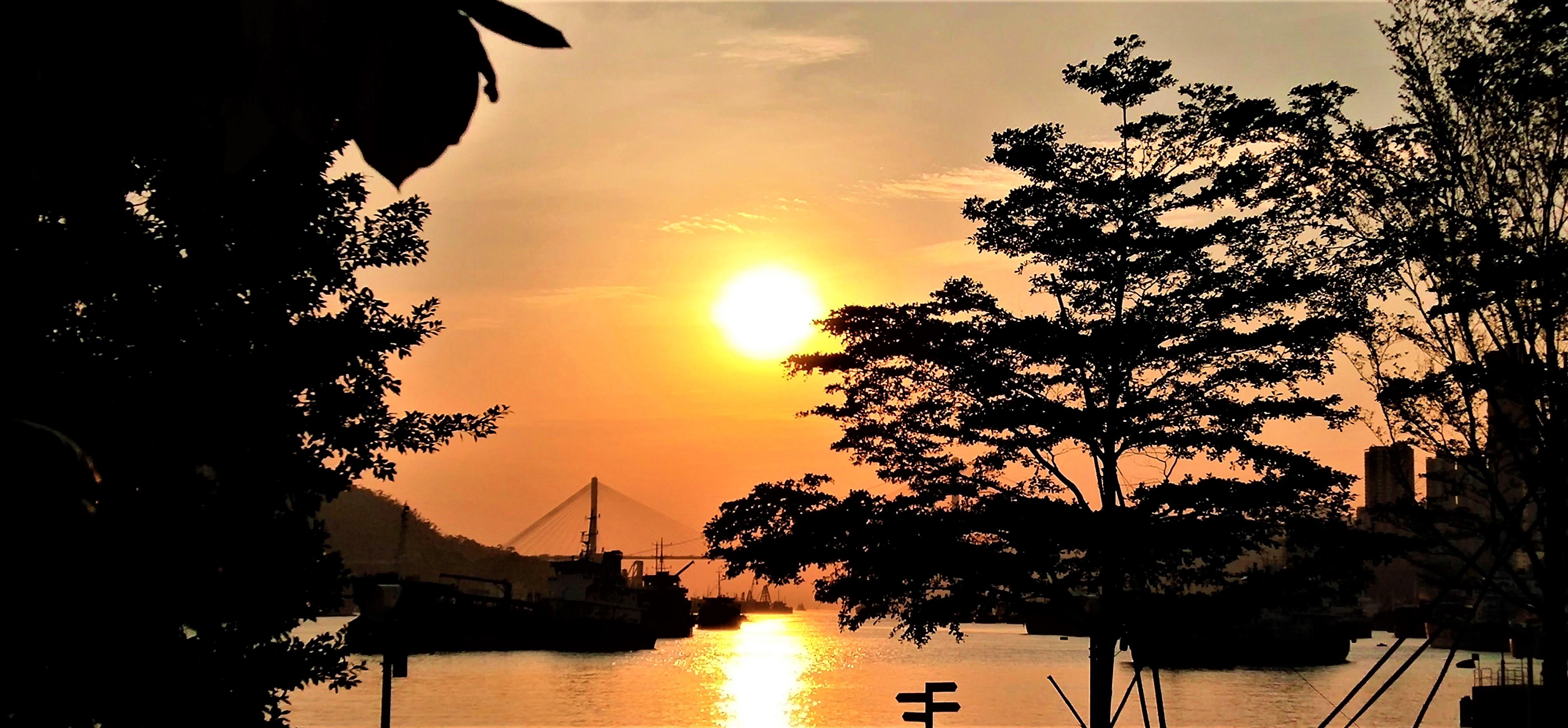 Great Ting Kau Bridge under the nice sunset