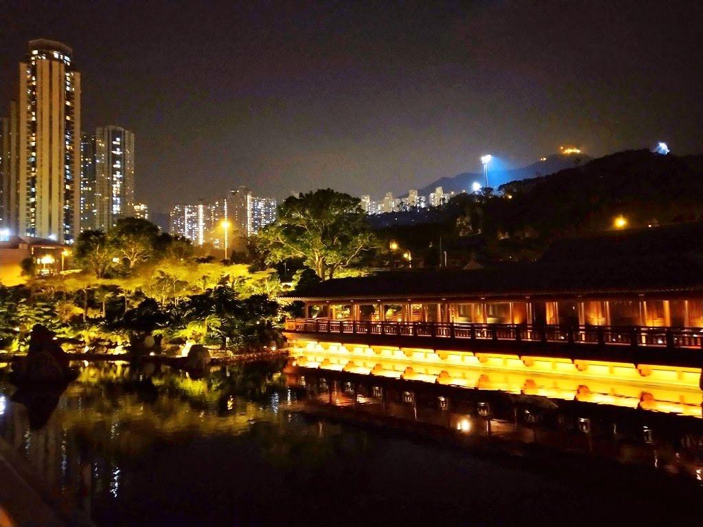 Blue Pond in Nan Lian Garden at night