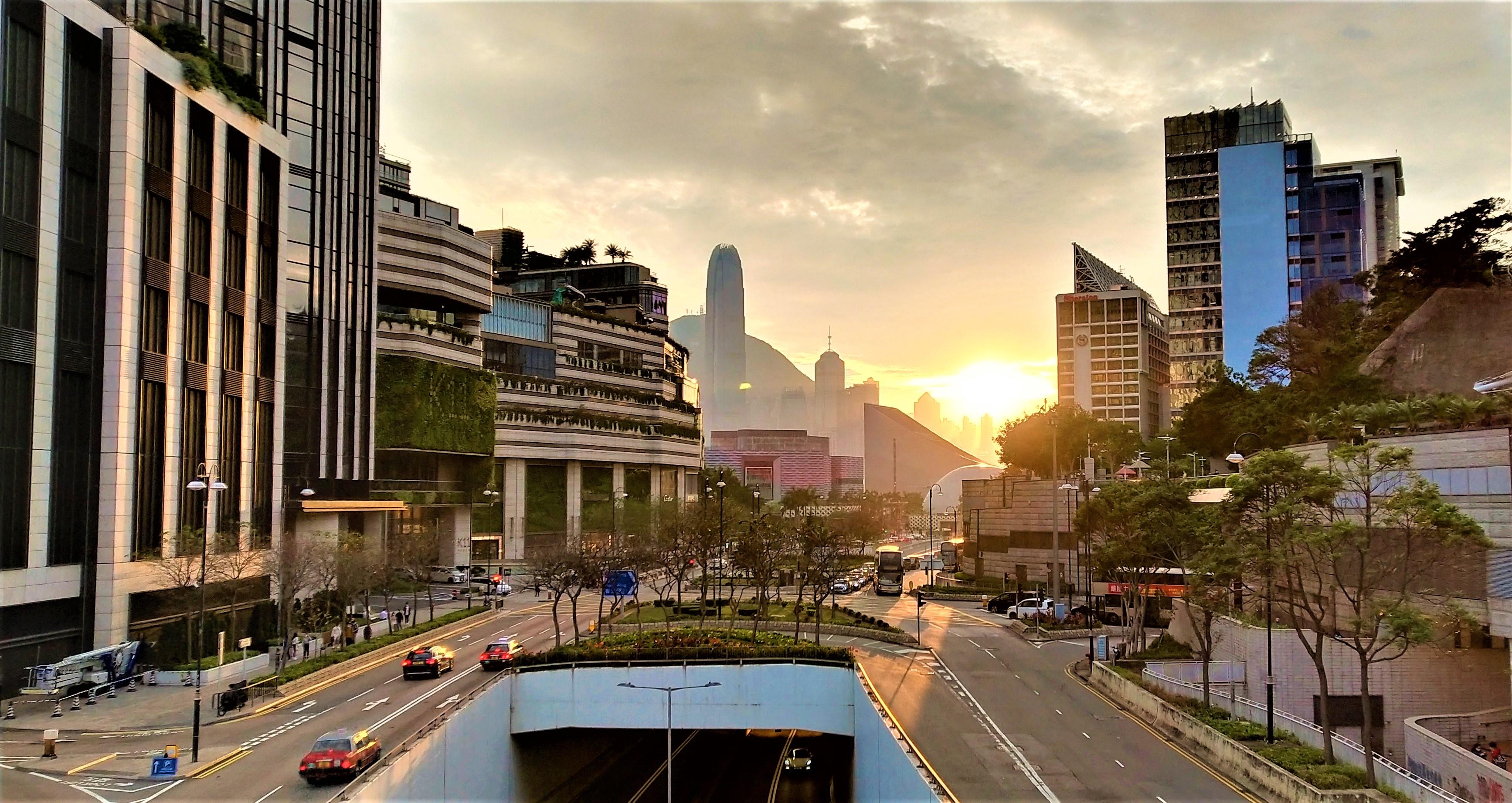 Tsim Sha Tsui, tunnel, roads, carsbuildings, sunset