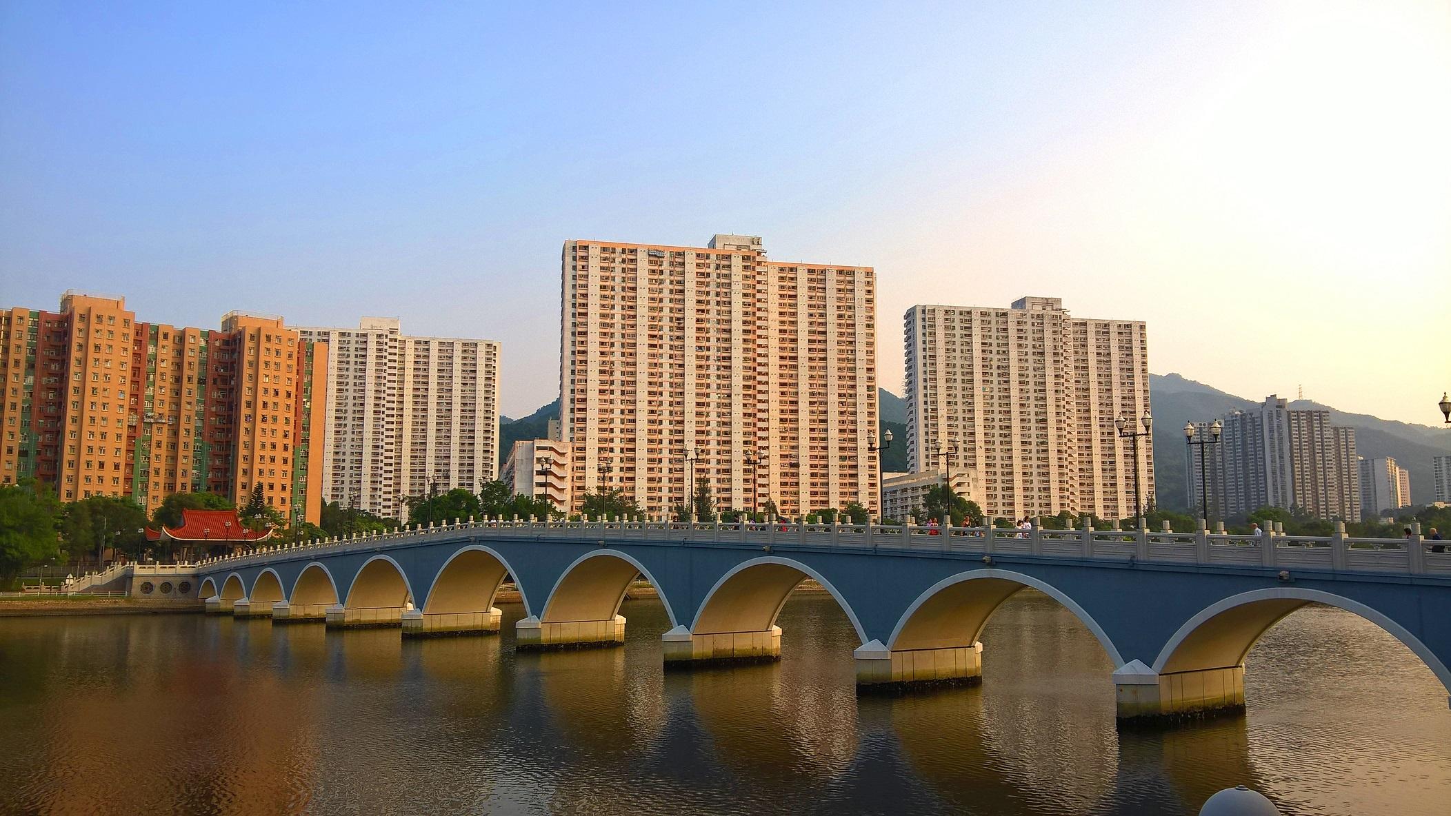Sha Tin, sunset, bridge, river, buildings
