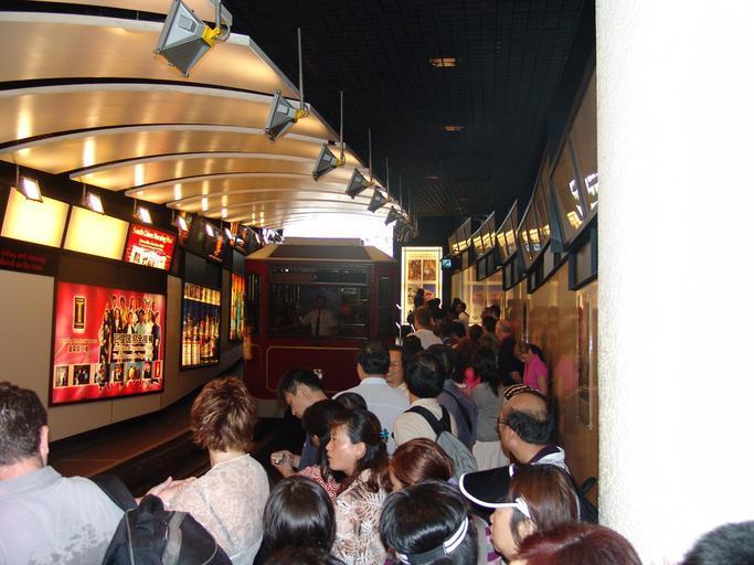 Crowd at the Peak Tram Lower Terminus platform in the past