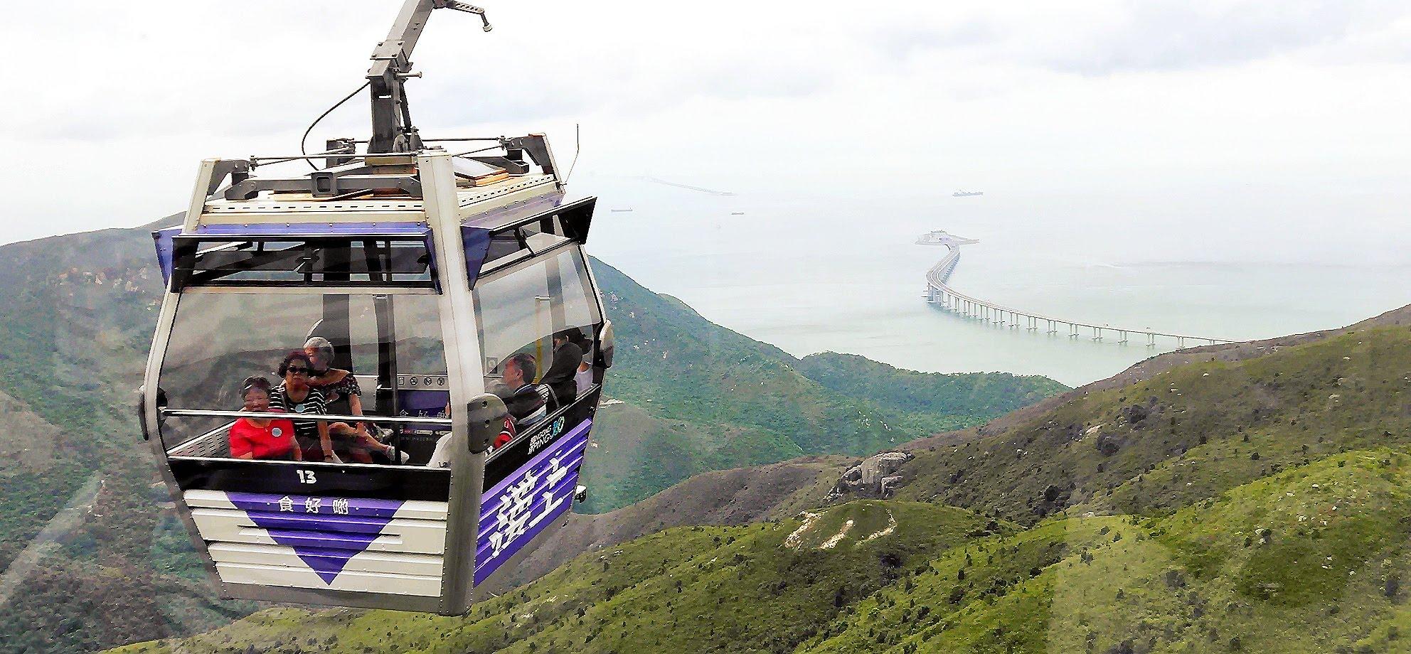 You can see the Hong Kong Zhuhai Macau Bridge during the Ngong Ping 360 Cable Car ride.