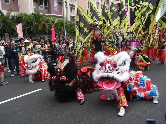 Lion dance performance in Hong Kong