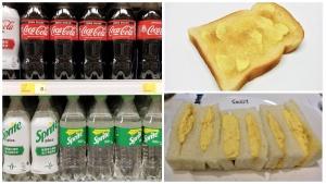 Soda, butter toast, egg sandwich