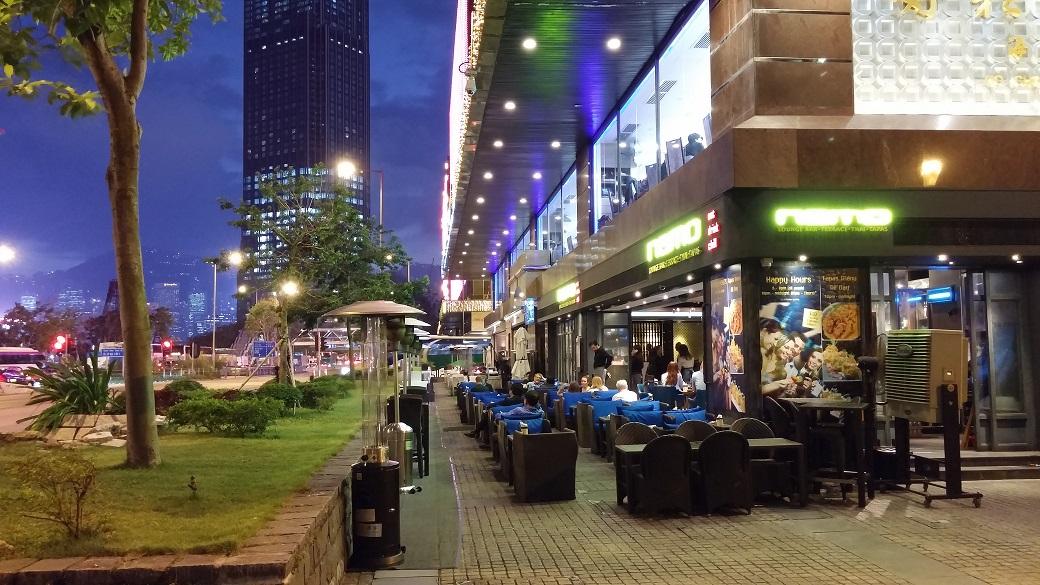 Alfresco Lane next to the hotels at Tsim Sha Tsui East.
