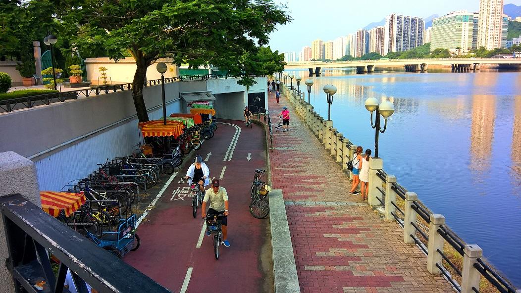 Bicycle track near the Shing Mun River in Sha Tin.