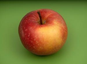 Apple, green background