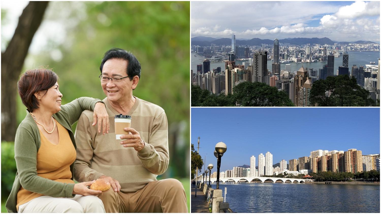 Chinese couples, park, coffee, Hong Kong, Victoria Peak, Sha Tin, river view